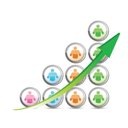 population growth: success people business graph and arrow. illustration design over white Illustration