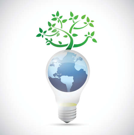 light bulb globe tree illustration design over a white background
