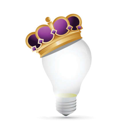 crown of light: light bulb and crown illustration design over a white background