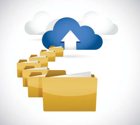uploading info to cloud. cloud computing concept illustration design