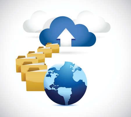 uploading: globo caricando informazioni a nuvola. cloud computing concetto di design illustrazione