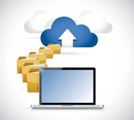 laptop uploaden van info naar cloud. cloud computing concept illustratie ontwerp