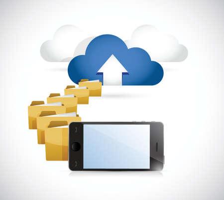 uploading: telefono caricando informazioni a nuvola. cloud computing concetto di design illustrazione Vettoriali