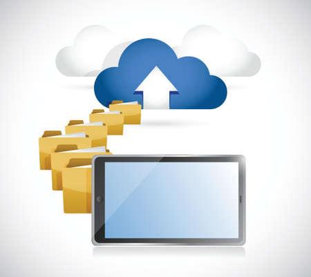 tablet uploaden van info naar cloud. cloud computing concept illustratie ontwerp