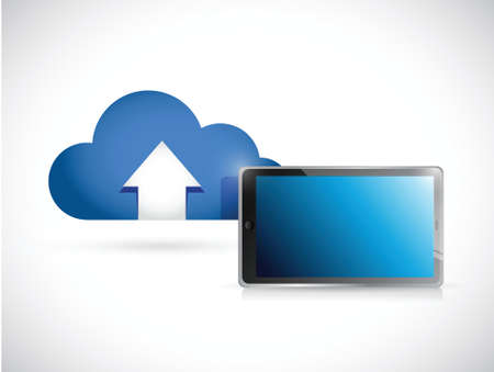 cloud computing and tablet. connection concept illustration design over white Vector