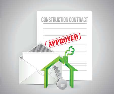 건설 계약 승인 된 개념 그림 디자인 배경