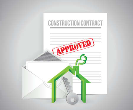 construction contract approved concept illustration design background Stock Vector - 22590157