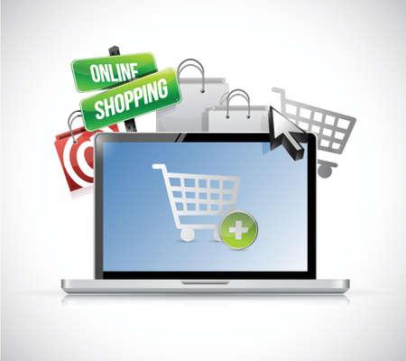 オンライン ショッピングの概念。ホワイト上のラップトップ イラスト デザイン