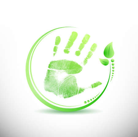 hand print leaves around illustration design over white illustration
