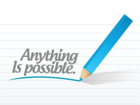 alles is mogelijk geschreven boodschap illustratie ontwerp op wit