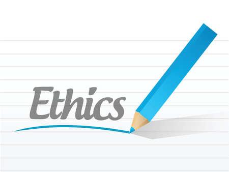 scruples: ethics written message illustration design over white