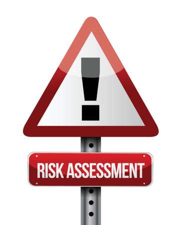 risico analyse: risicobeoordeling verkeersbord illustratie ontwerp op een witte achtergrond Stock Illustratie