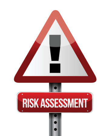 assessment: risk assessment road sign illustration design over a white background Illustration