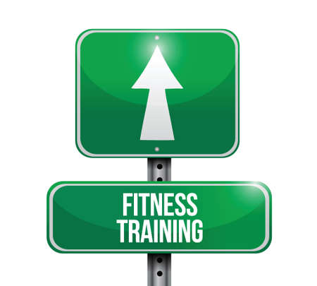 fitness training: fitness training road sign illustration design over a white background