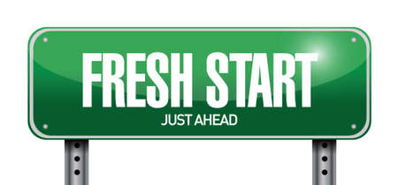 fresh start road sign illustration design over a white background