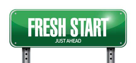 frisse start: nieuwe start verkeersbord illustratie ontwerp op een witte achtergrond