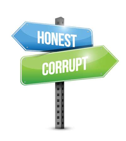 sinner: honest, corrupt road sign illustration design over a white background