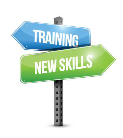 re: training new skills road sign illustration design over a white background