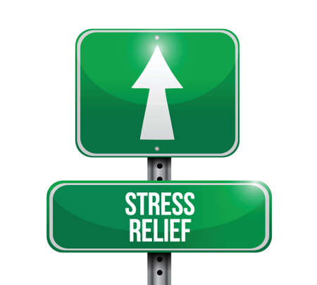 lowering: stress relief road sign illustration design over a white background