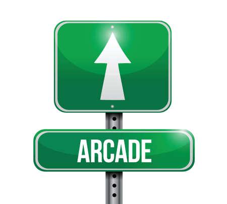 arcade road sign illustration design over a white background Stock Illustratie