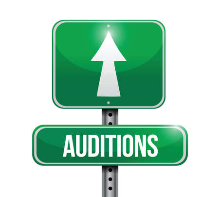 film role: auditions road sign illustration design over a white background