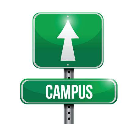 reviser: campus conception d'illustration de signe de route sur un fond blanc
