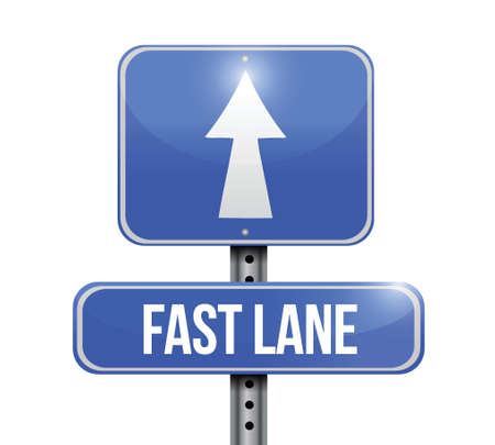 quicker: fast lane road sign illustration design over a white background
