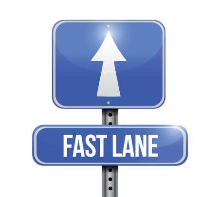 fast lane: signo r�pido camino del carril de dise�o de ilustraci�n sobre un fondo blanco