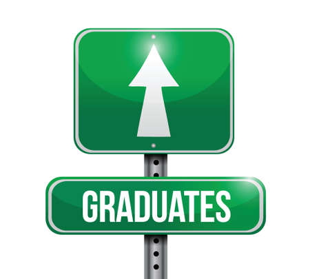 brighter: graduates road sign illustration design over a white background