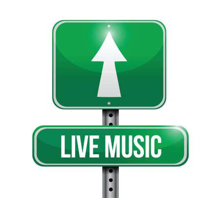 live music road sign illustration design over a white background