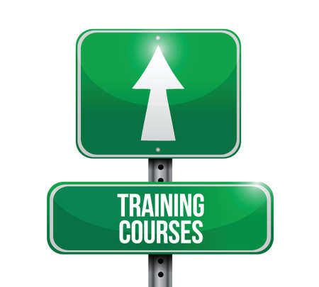training courses: training courses road sign illustration design over a white background