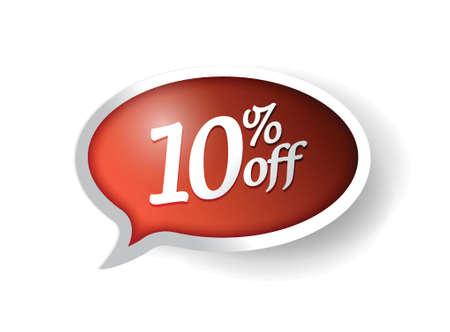 discount banner: 10 percent off message bubble illustration design over white Illustration