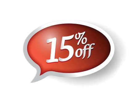 15 percent off message bubble illustration design over white