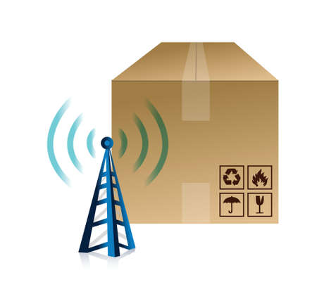 weblog: box and wifi tower illustration design over a white background