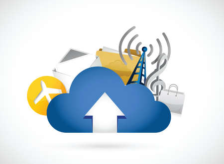 cloud computing upload concept illustration design over white Vector