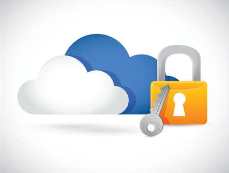 secure: cloud computing illustration lock illustration design over white
