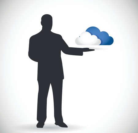 cloud computing presentation design over a white background Illustration