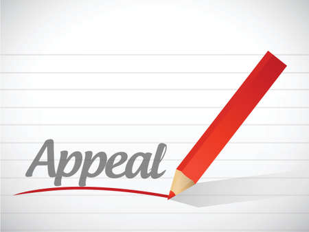 appeals: word appeal written on a white piece of paper Illustration