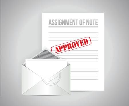 assignment: assignment of note papers illustration design over a grey background Illustration