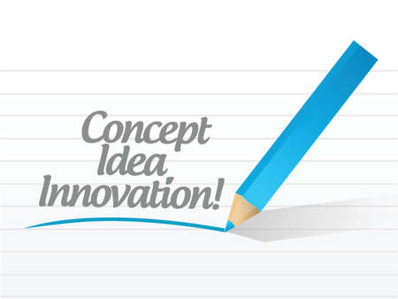 concept idea innovation written illustration design over white