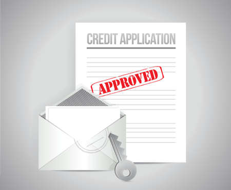 validated: credit application papers illustration design over a grey background