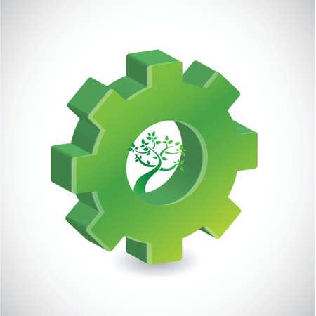 흰색 배경 위에 기어 나무 기호 그림 디자인