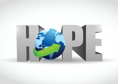hope: hope 3d text and globe illustration design over white