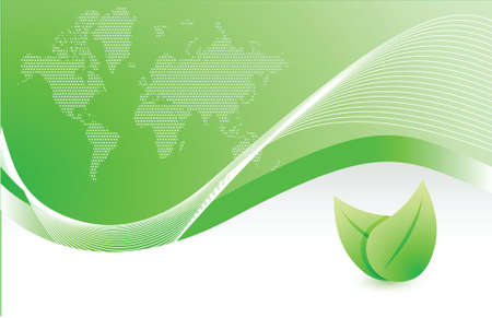 cover: green wave leave business illustration design background