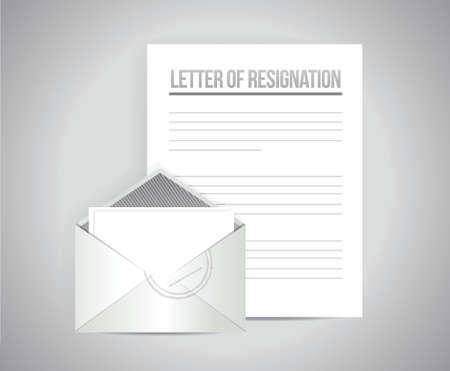 renuncia: carta de renuncia trabajos de dise�o ilustraci�n sobre un fondo gris Vectores