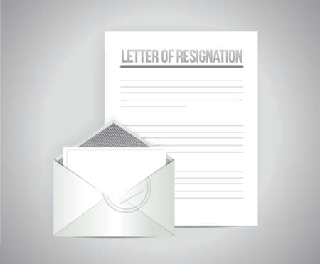 resignation: letter of resignation papers illustration design over a grey background