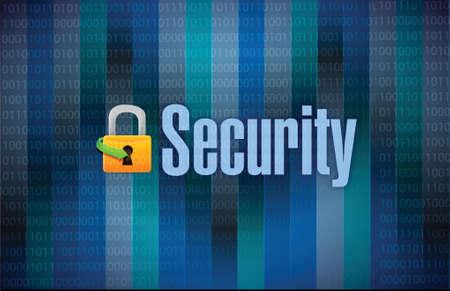 lock and security binary dark background illustration design
