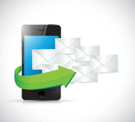 short message service: phone and emails illustration design over a white background
