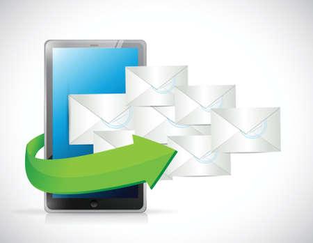 short message service: tablet and emails illustration design over a white background Illustration