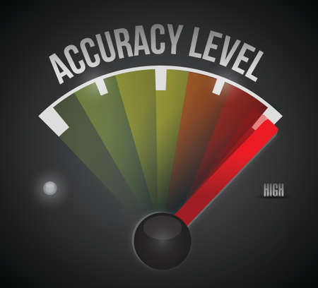 accuracy: accuracy level level measure meter from low to high, concept illustration design Illustration